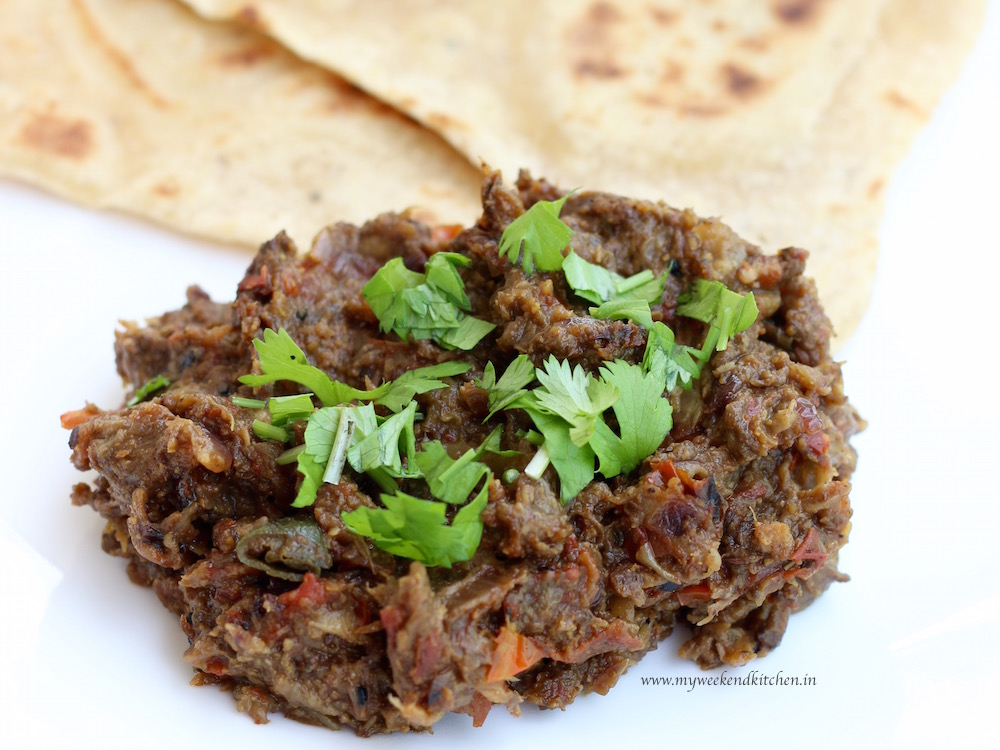 Baingan ka bharta - roasted eggplant vegetable fry