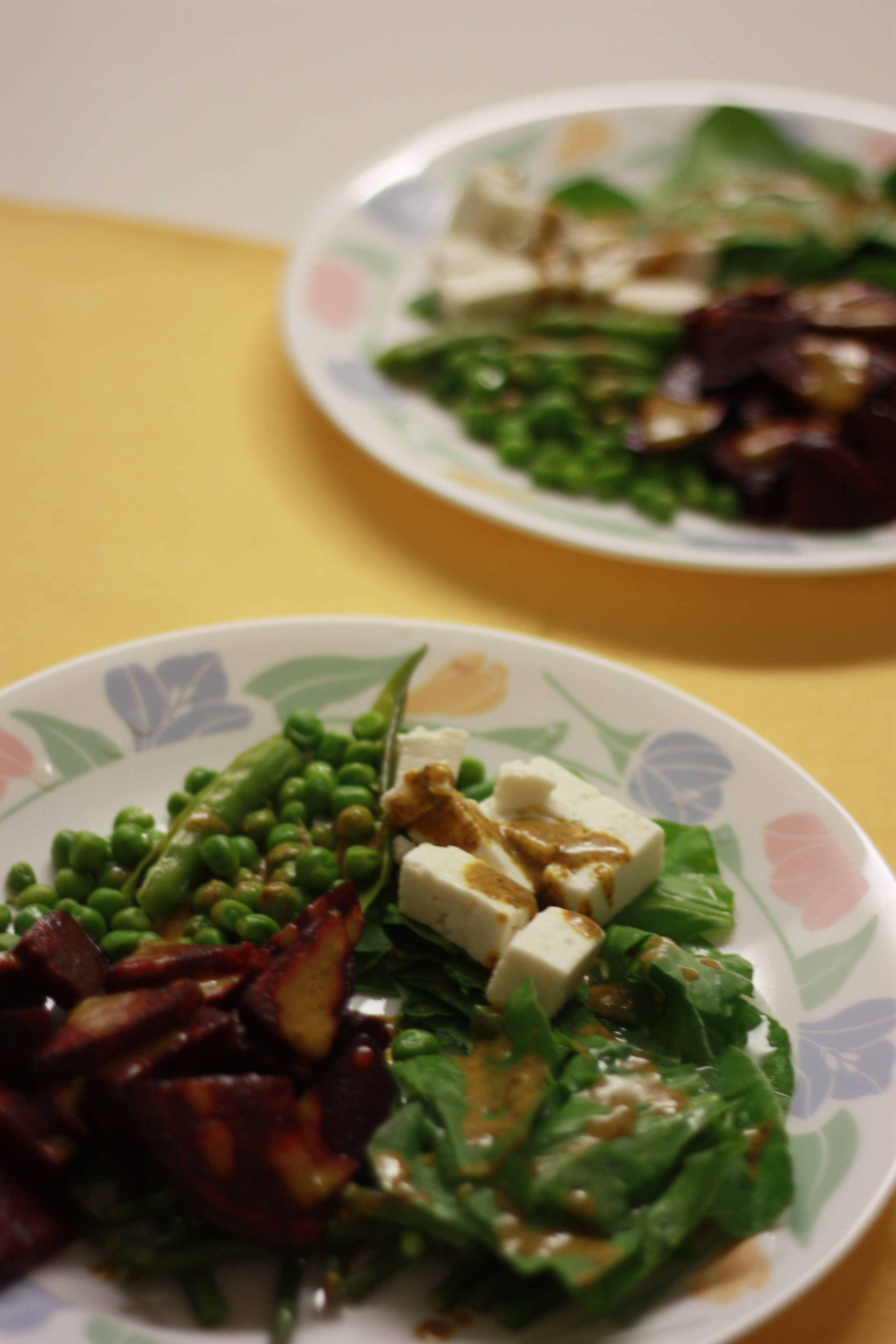 Beetroot, peas and cheese salad