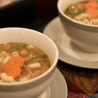 vegan clear soup with pasta, clear pasta soup