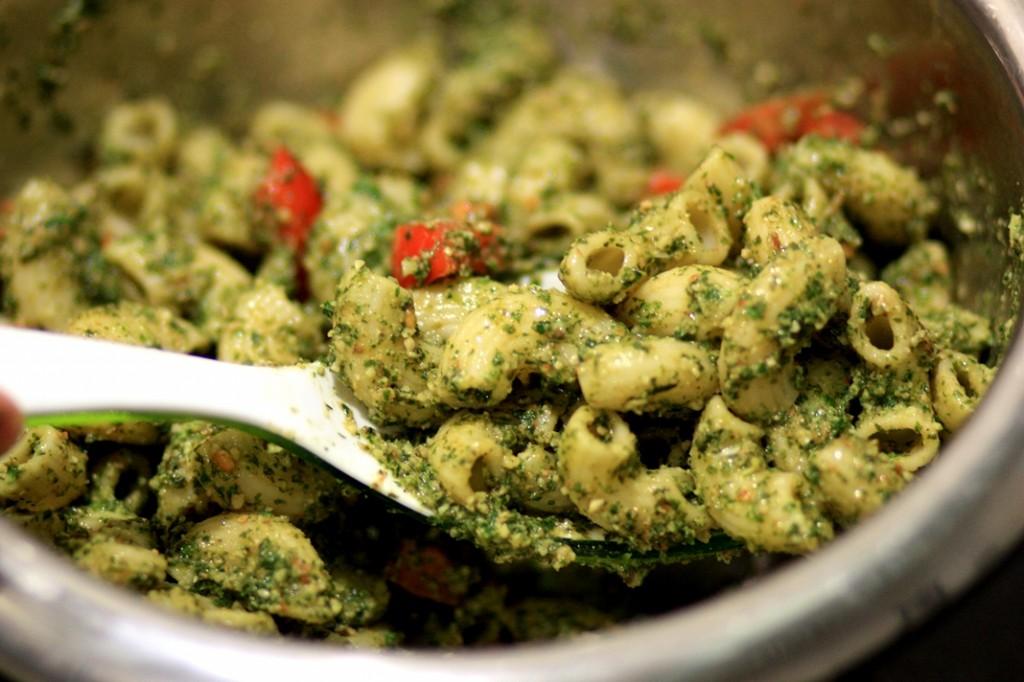 Mint almond Pesto Pasta Salad