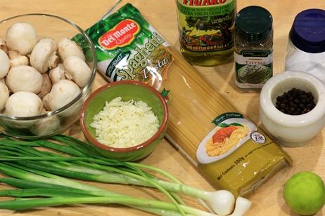 Spaghetti with mushroom salad - ingredients; mushroom pasta recipe;