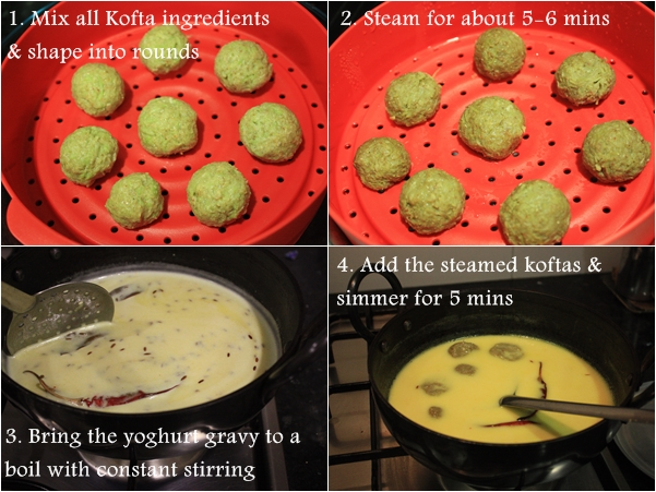 lauki ke gatte, low oil lauki kofta curry, steamed lauki koftas, bottle guard dumplings in yoghurt gravy