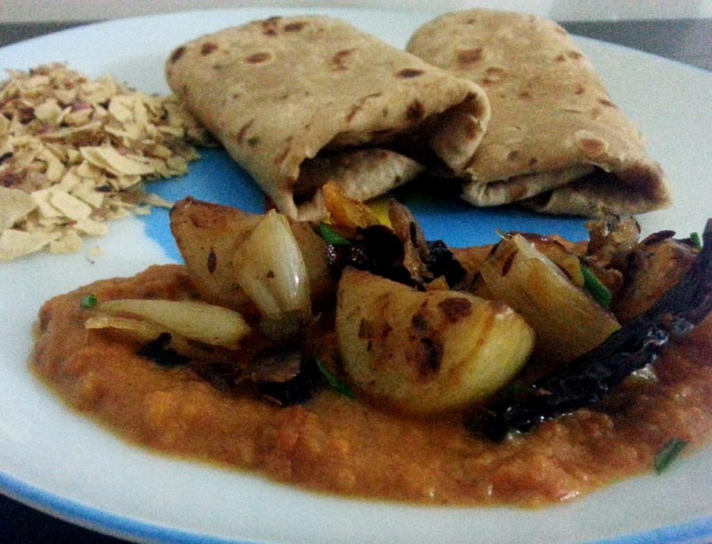 potato onion vegetable fry, soofi sabzi, aaloo pyaaz