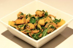 sauteed potato and spinach fry, spinach recipe, potato recipe, potato, spinach
