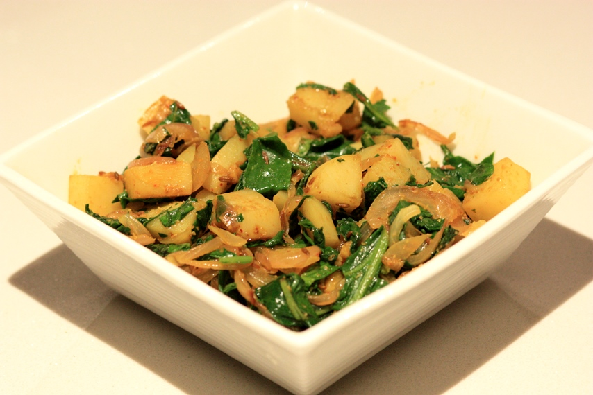 Aaloo Palak (Sautéed Spinach with potatoes)