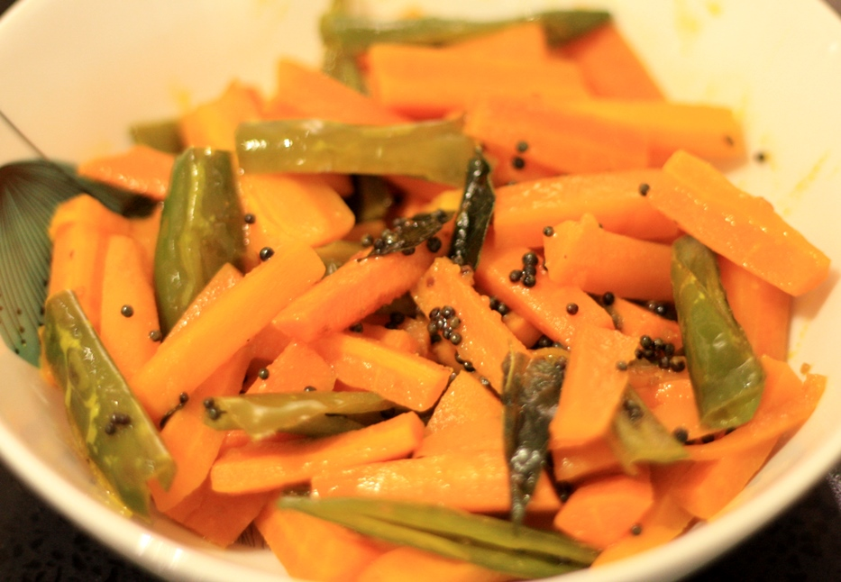 A side of carrots and chillies