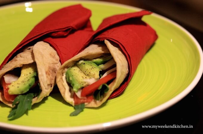 avocado salad wrap, leftover roti recipe, summer lunch box ideas, quick lunch to go