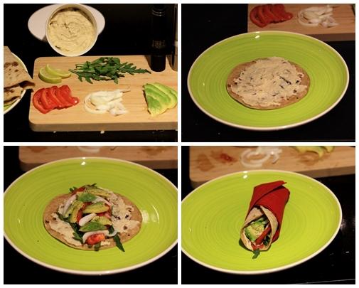 avocado salad wrap step-by-step, lunch to go