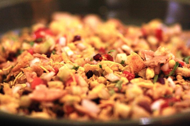 cornflakes mixture bhel puri, Indian street food