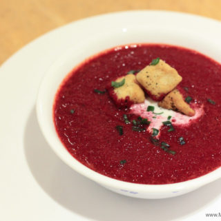 Beetroot Soup with roasted tomatoes & garlic