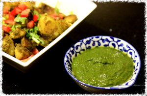 green chutney with a secret ingredient, coriander and mint dip, green chutney dip