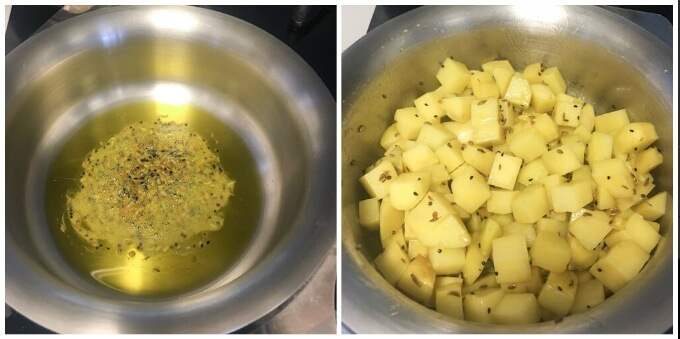 tempering mustard oil with panch phoran spices for aloo posto recipe