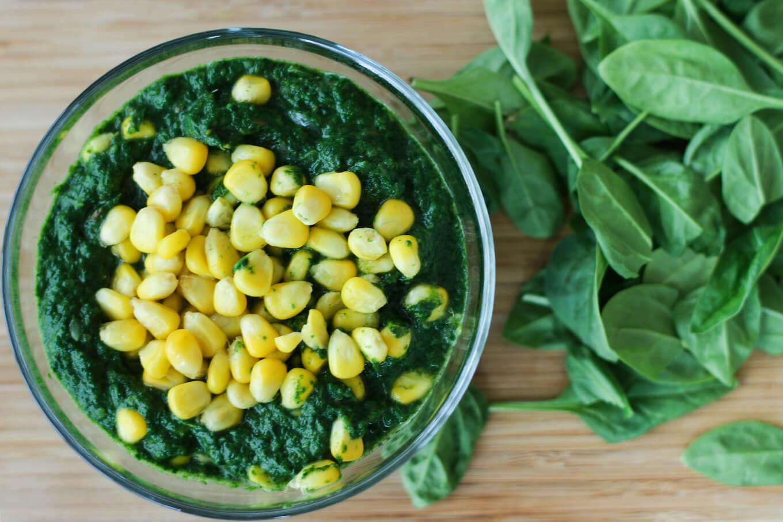 spinach and corn curry recipe, palak corn recipe