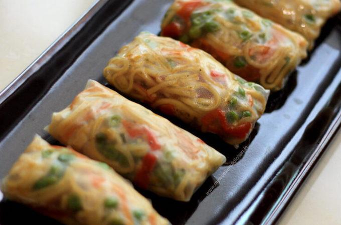 steamed vegetable spring rolls, veg spring rolls with leftover noodles