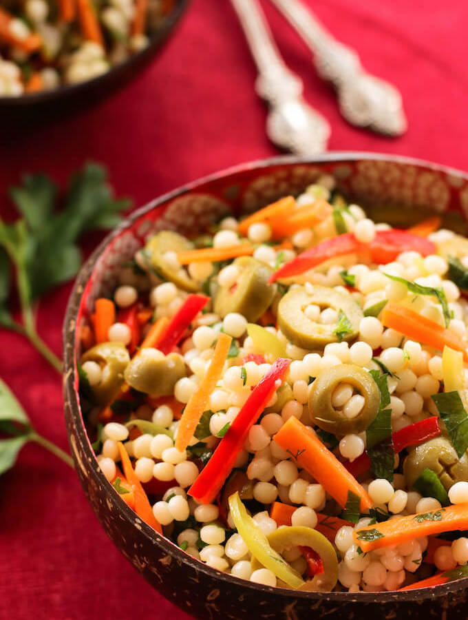 Israeli couscous salad, ptitim salad with herbs