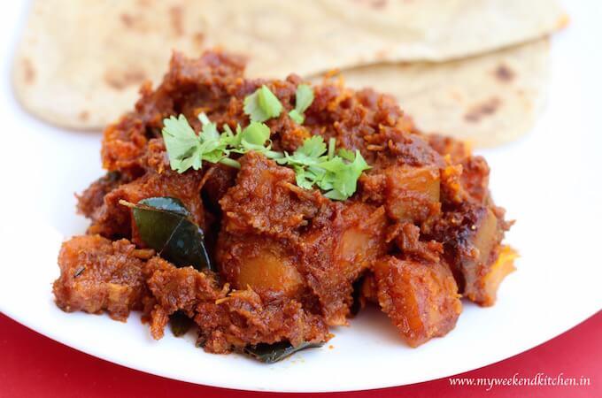 pumpkin fry, Indian style pumpkin side dish, kaddu ki sabzi