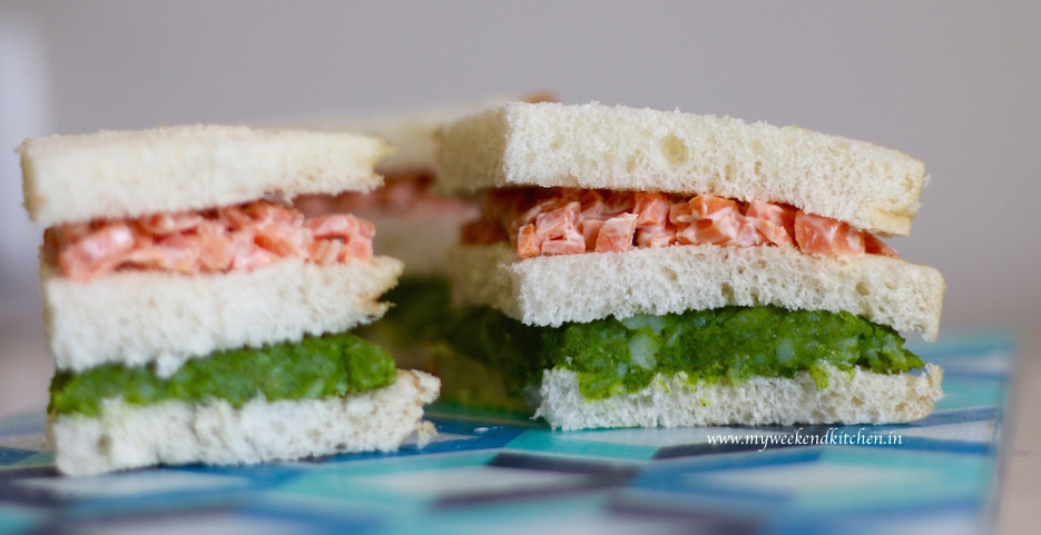 Double decker tricolour sandwich