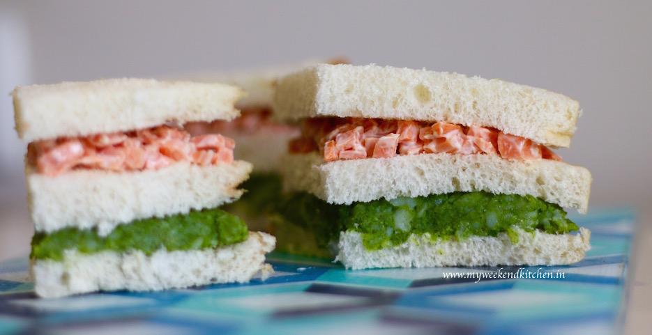 tricolour sandwich, carrot and potato sandwich