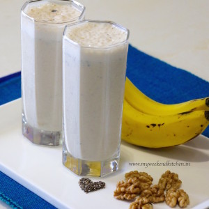 banana and walnut smoothie recipe, breakfast smoothie recipe