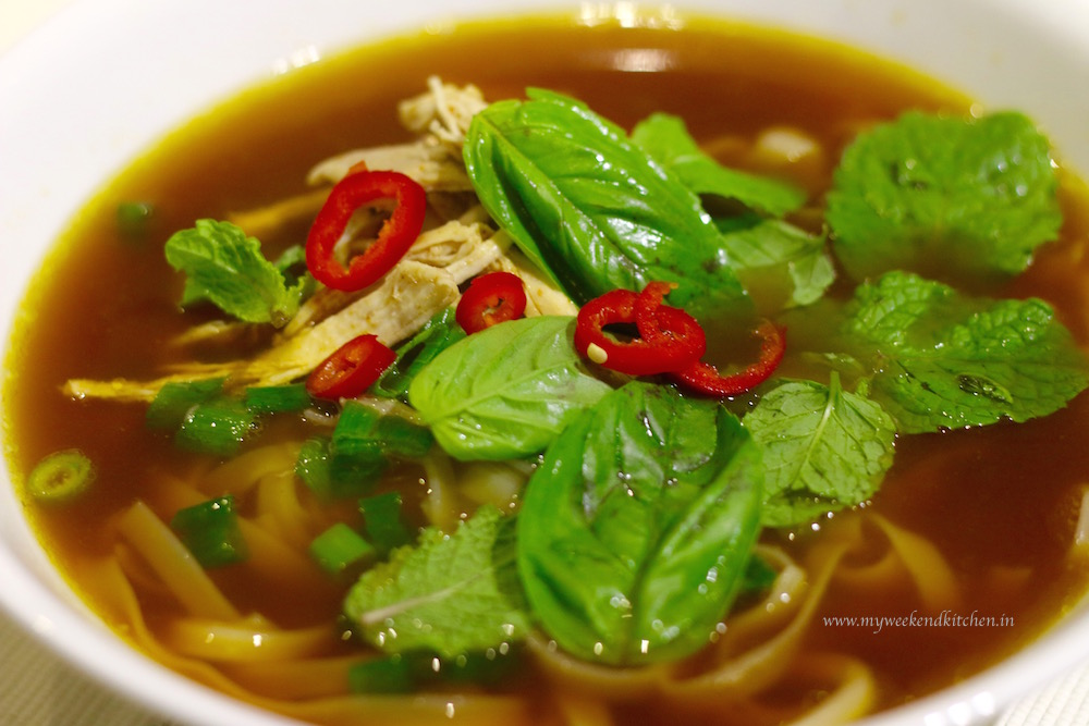 Vietnames Pho Soup from scratch,  slow-cooked Vietnamese Pho noodle soup,  Pho Ga, Chicken noodle soup