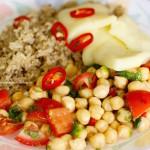 Quinoa, Halloumi cheese, chickpea salsa, vegetarian salad