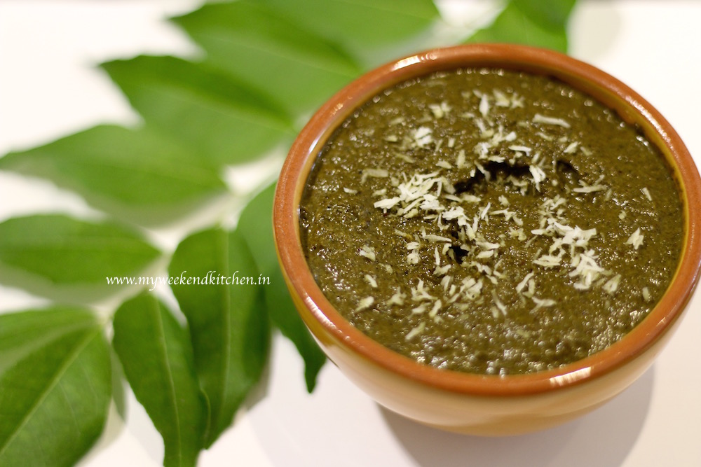 curry leaves and coconut chutney, kadi patta aur nariyal ki chutney, coconut and curry leaves chutney