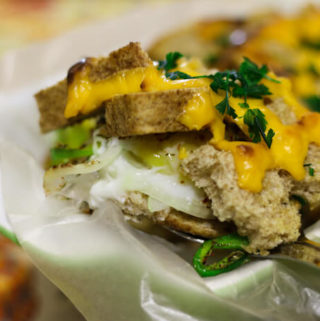 Breakfast Egg Casserole with bread and vegetables