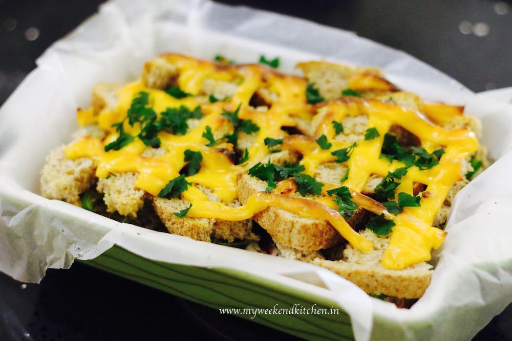 hidden eggs - eggs and veggies hidden between bread layers and baked