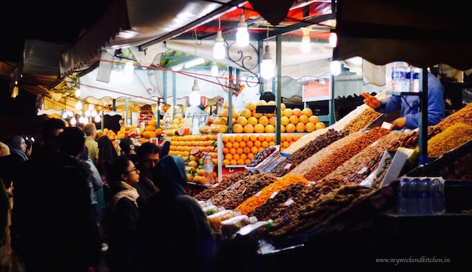 Orange stalls at Moroccan food market - Jemaa Al Fna