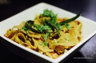 Rajasthani papad ki sabzi, poppadom fry in yoghurt curry