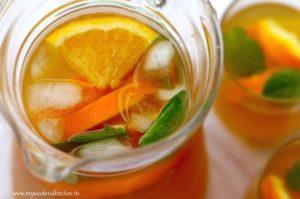 refreshing orange and mint iced tea