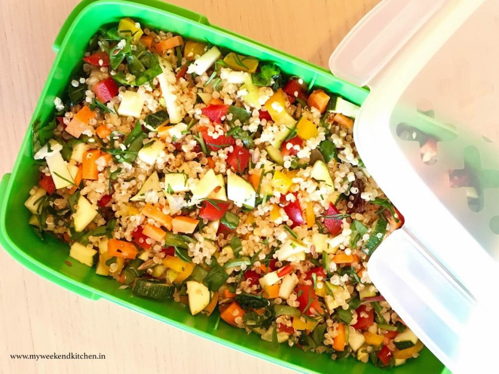 Vegan Quinoa salad, summer salad recipe, one bowl meal, summer lunchbox ideas