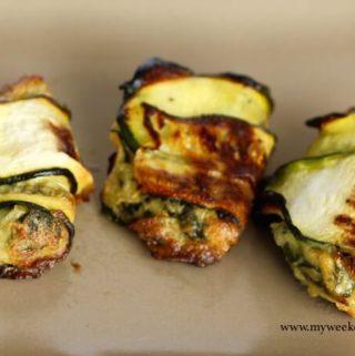 Zucchini wrapped Spanakopita – gluten-free & flourless!