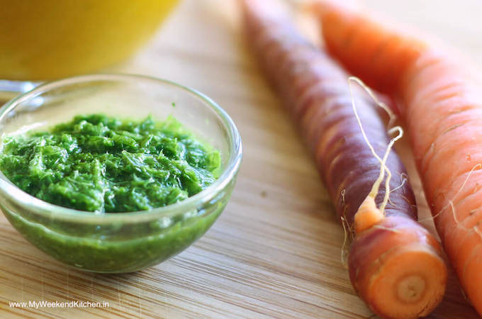 carrot top pesto, carrot leaves recipe, pesto with carrot greens