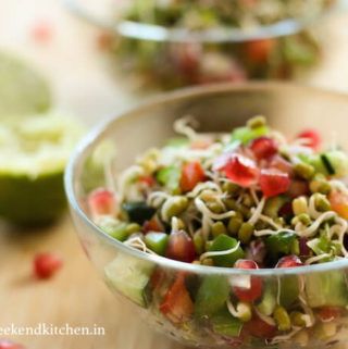 Sprouted moong dal salad, kung dal sprouts salad