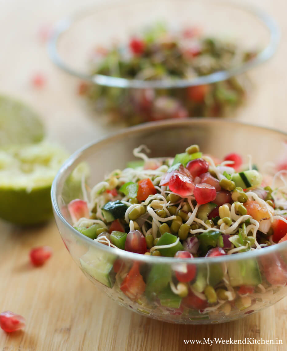 Moog dal sprouts salad, sprouted moong dal salad