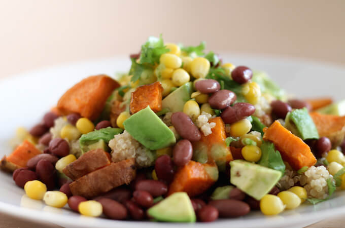 Sweet Potato salad with quinoa and avocado-lemon dressing