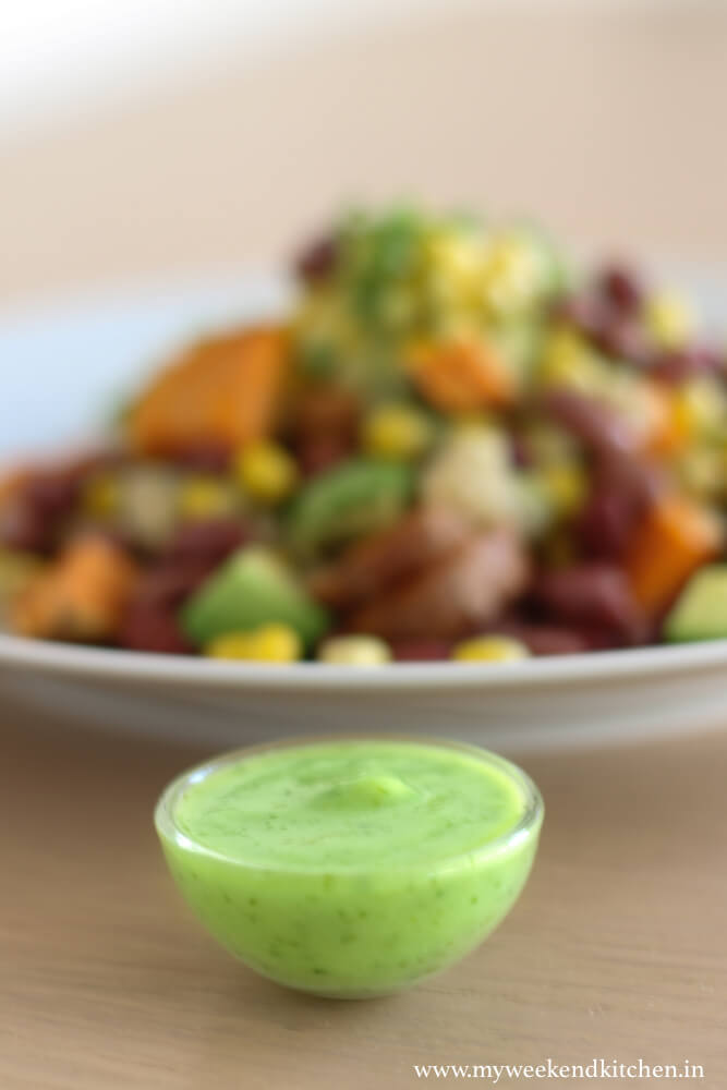 Southwestern sweet potato salad with creamy avocado dressing