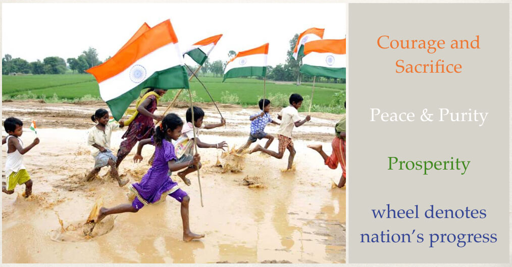 Children running with India flag, Indian Independence Day
