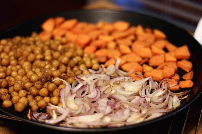 roasted sweet potato, onions and chickpea salad