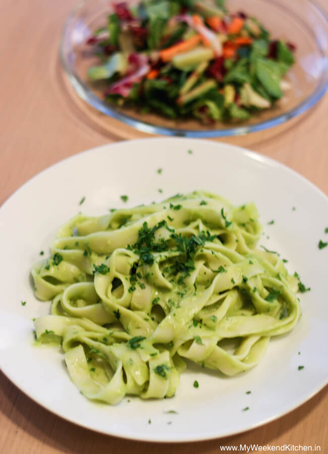 easiest avocado pasta sauce with rice fettuccine and a side salad