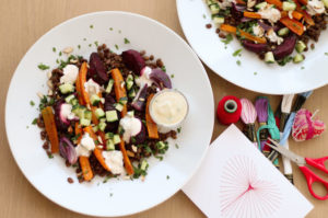 simple and healthy lentil salad with vegetables