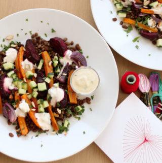 Warm Lentil Salad with Roasted Vegetables
