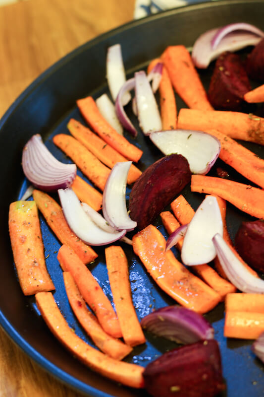 roasted carrot, beets and red onion for lentil salad