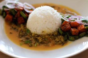 chilka moong dal with rice, Indian split green lentil curry