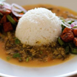 Moong dal chilka (Split green lentil curry)