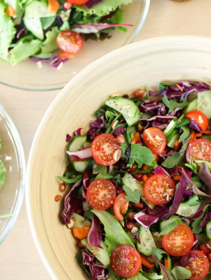 raw vegan salad, vegetable salad recipe, rainbow salad bowl, vegan salad dressing