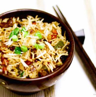 vegetable fried rice recipe, vegan fried rice, veg fried rice