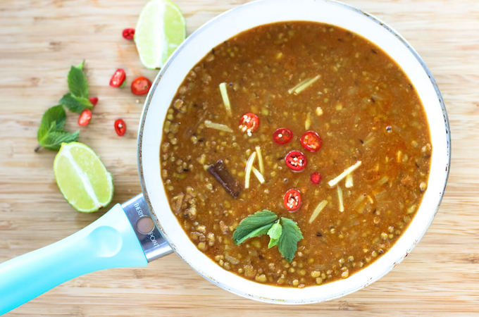 whole green lentil curry, moong dal recipe, mung beans curry
