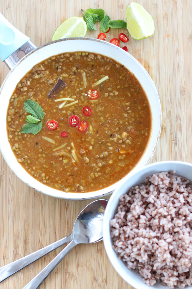Whole green moong dal recipe, green mung beans curry